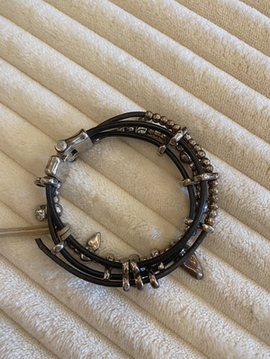 Leather Bracelet with Silver Clad - 13 Hub Lane   |  Bracelet