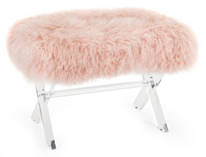 Camlin Tibetan Fur and Acrylic Bench - 13 Hub Lane   |