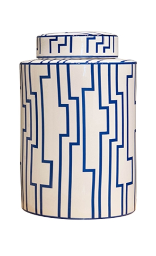 Barclay Butera Blue /& White Labyrinth Jar 10.25/""