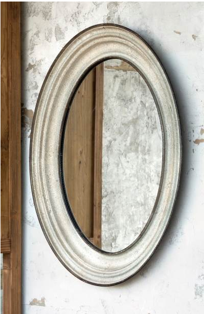 Aged Metal Oval Mirror