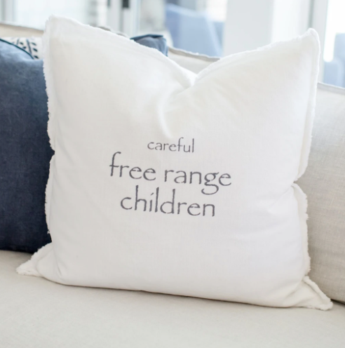 """Careful free range children"" Pillow"