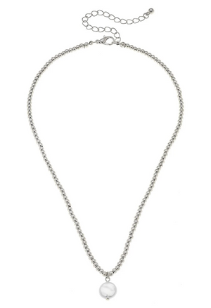 Coin Pearl Ball Bead Necklace In Worn Silver - 13 Hub Lane   |  Necklace