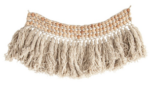 Wood Bead & Wool Wall Hanging Fringe