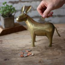 Recycled Brass Plated Donkey Bank - 13 Hub Lane   |