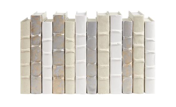 White/Cream/Gold with Silver Overlay Book Stack - 13 Hub Lane   |