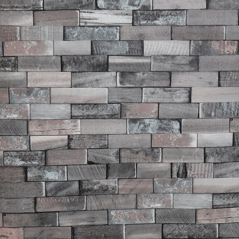 Grey wooden brick styled wallpaper