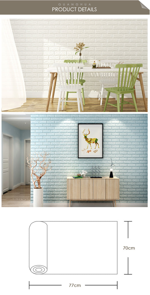 3D Brick Wall Stickers-PE Foam Self-Adhesive-3D Wall Panels Peel and Stick Wallpaper for Living Room Bedroom Background Wall Decoration (10 Pack, White 56.9 sq feet) (chart9: Magenta Pink 10 Pack)