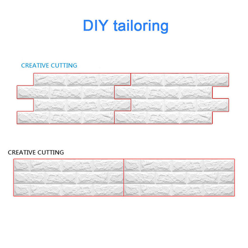 3D Brick Wall Stickers-PE Foam (56.9 sq feet chart 11: Sky Blue Five 10 Pack)