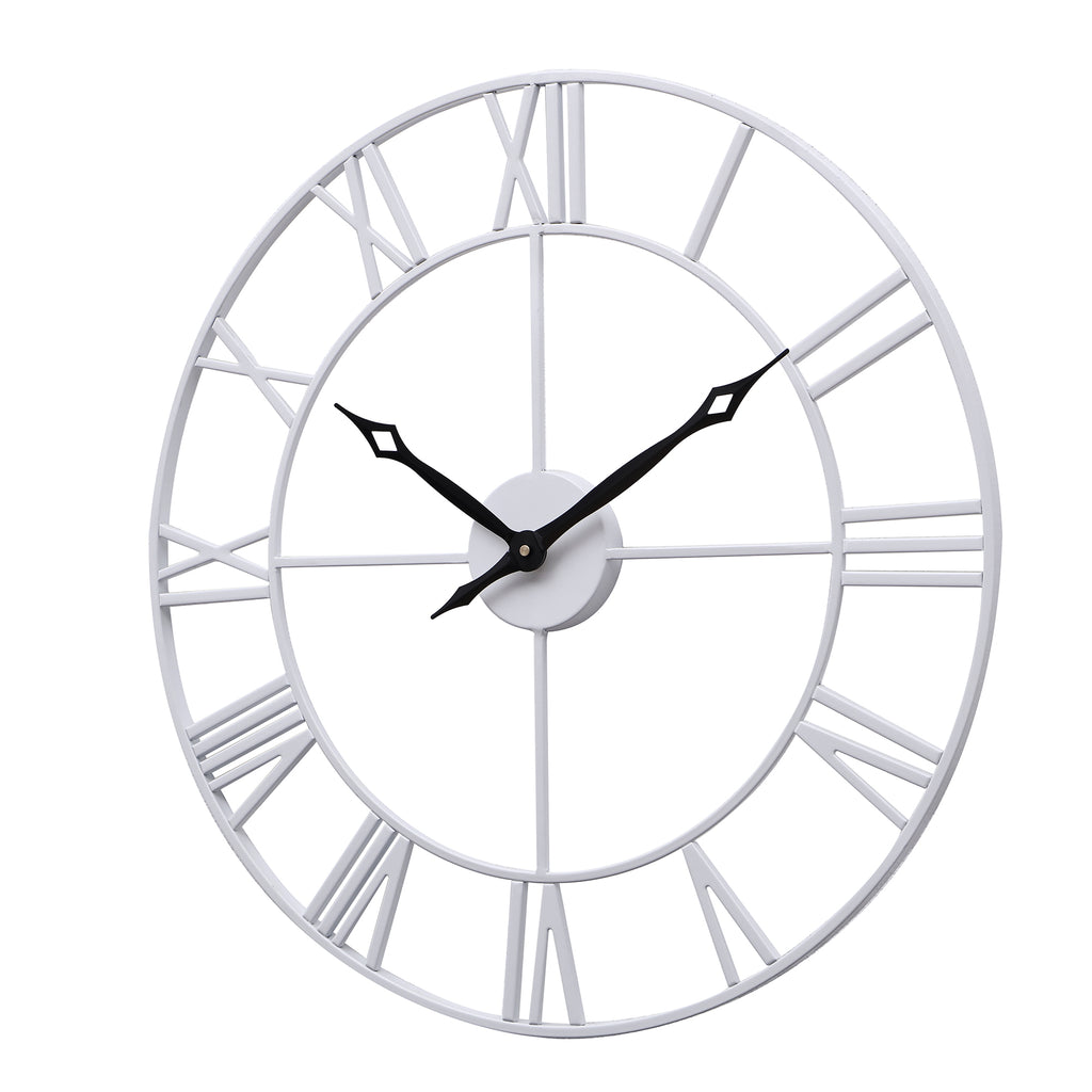 Large Ancient Roman Numeral Style Wall Clock (White & Black)