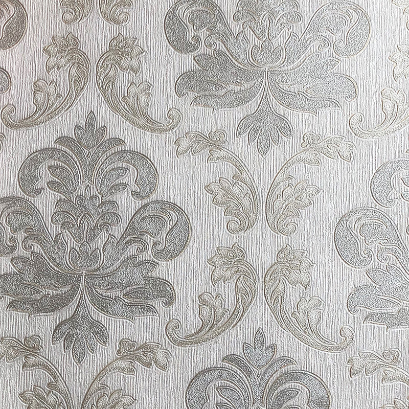 Cream Damask ornamental wallpaper