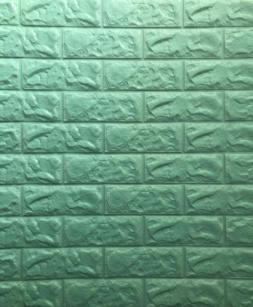 3D Brick Wall Stickers-PE Foam Self-Adhesive-3D Wall Panels Peel and Stick Wallpaper for Living Room Bedroom Background Wall Decoration (10 Pack, White 56.9 sq feet) (chart5: Mint Green 10 Pack)