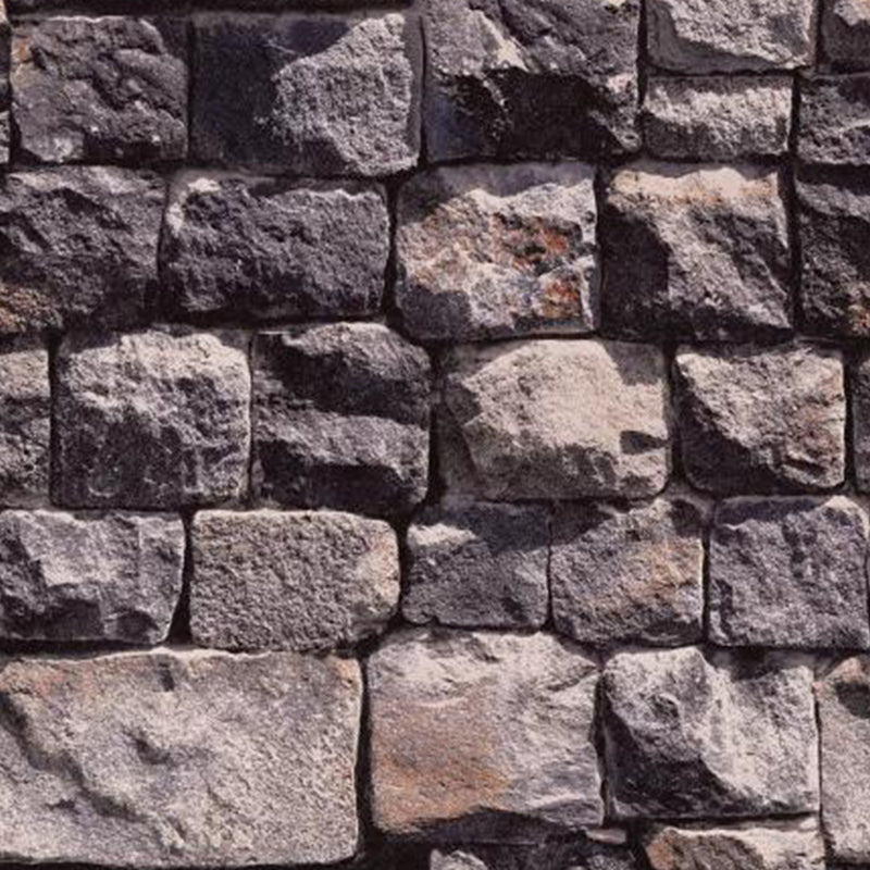 Dark brown brick stone wallpaper