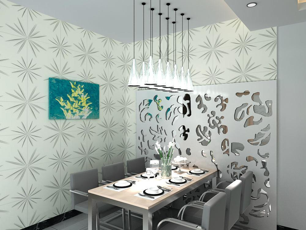3D Wall Panels - Textured Wall Tiles (12/Box) 32 sqft- Matt-White.by Walleffects (Spark)