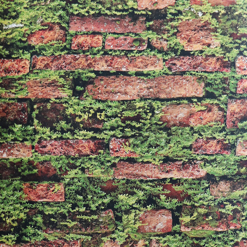 Flowered red brick wallpaper