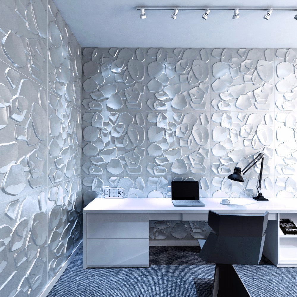 3D Wall Panels - Textured Wall Tiles (12/Box) 32 sqft- Chips - Matt-White.By Walleffects