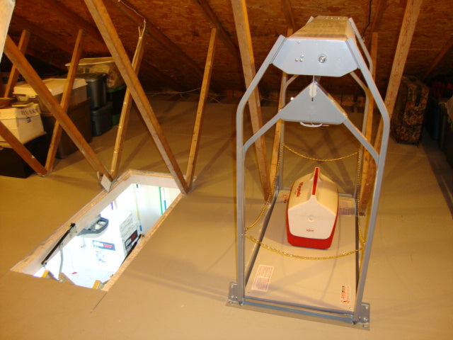 attic lift with ice chest and cups