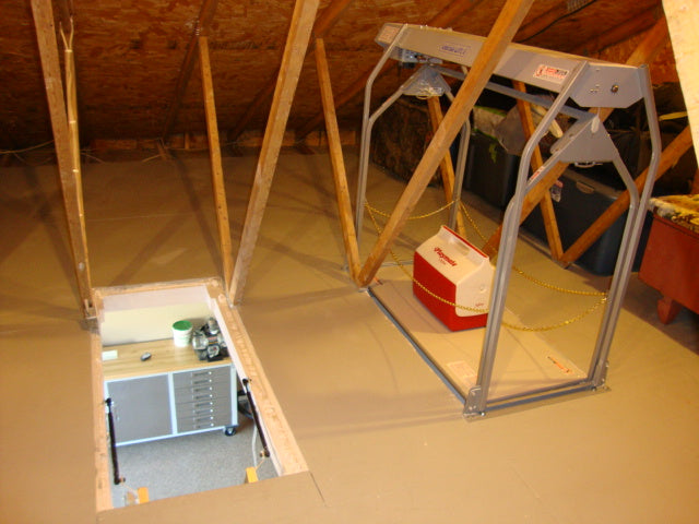 side by side attic ladder and garage attic lift
