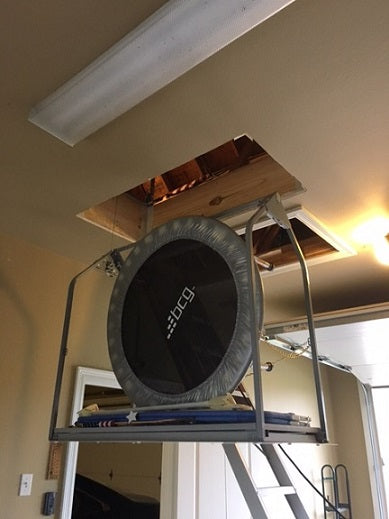 attic lift with trampoline