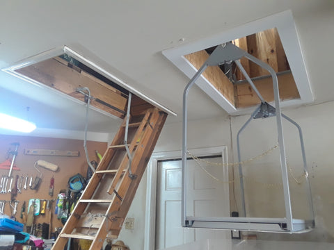 Sise by side attic stirs with Attic VersaLift