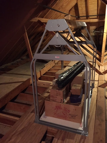 Loaded VersaLift in the attic