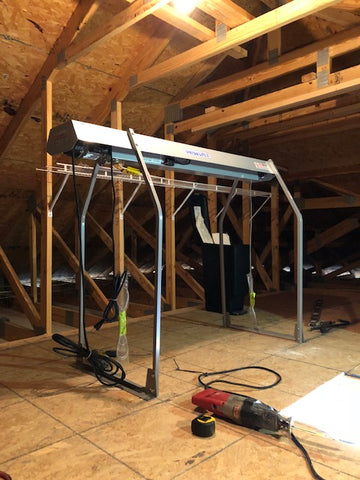 Installed VersaLift head piece and legs in the attic