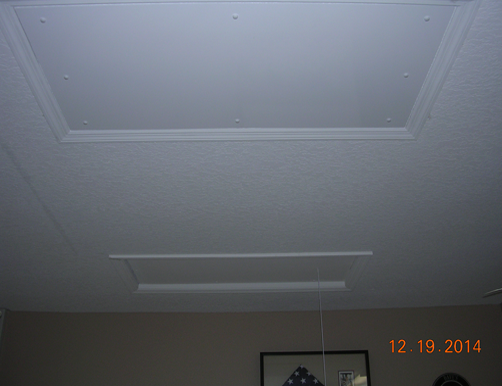 white ceiling of garage