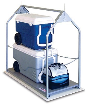 versalift with blue and white ice chest