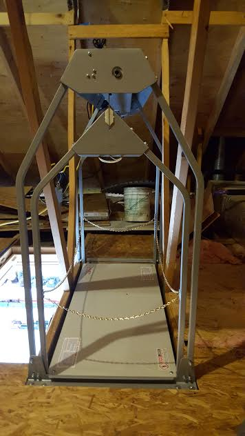 end view of ultimate attic lift