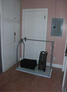 elevator lift in utility room