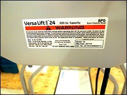 serial number tag for versalift