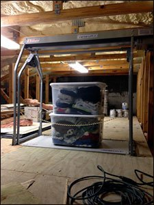 attic lift with multiple containers