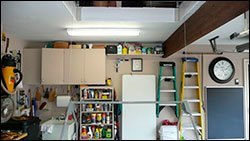 garage refrigerator and shelving