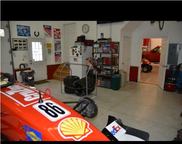 attic lift and formula one race car