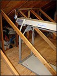 truss legs in attic angle view