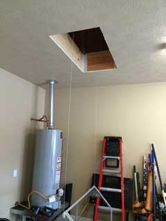 attic lift opening in garage