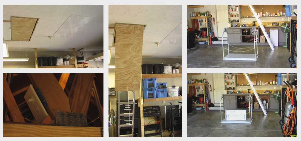 series of images of attic lift installation