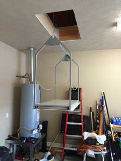attic lift and hot water tank