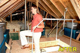 VERSA RAIL MODEL 60 ATTIC LADDER SAFETY RAIL with girl stepping out