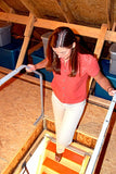 VERSA RAIL MODEL 60 ATTIC LADDER SAFETY RAIL and girl