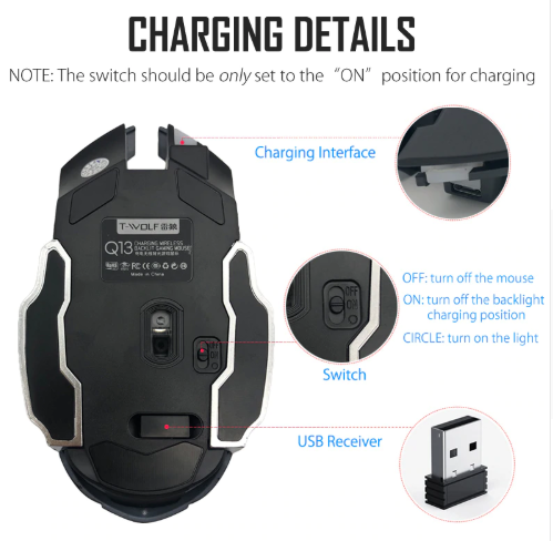 Gaming Mouse T-WOLF Q13 Rechargeable Wireless Mouse - Linzh Store