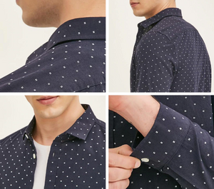 Smart Casual Shirt Point Print - Linzh Store