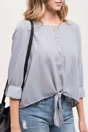Striped Front Tie Top- Blue
