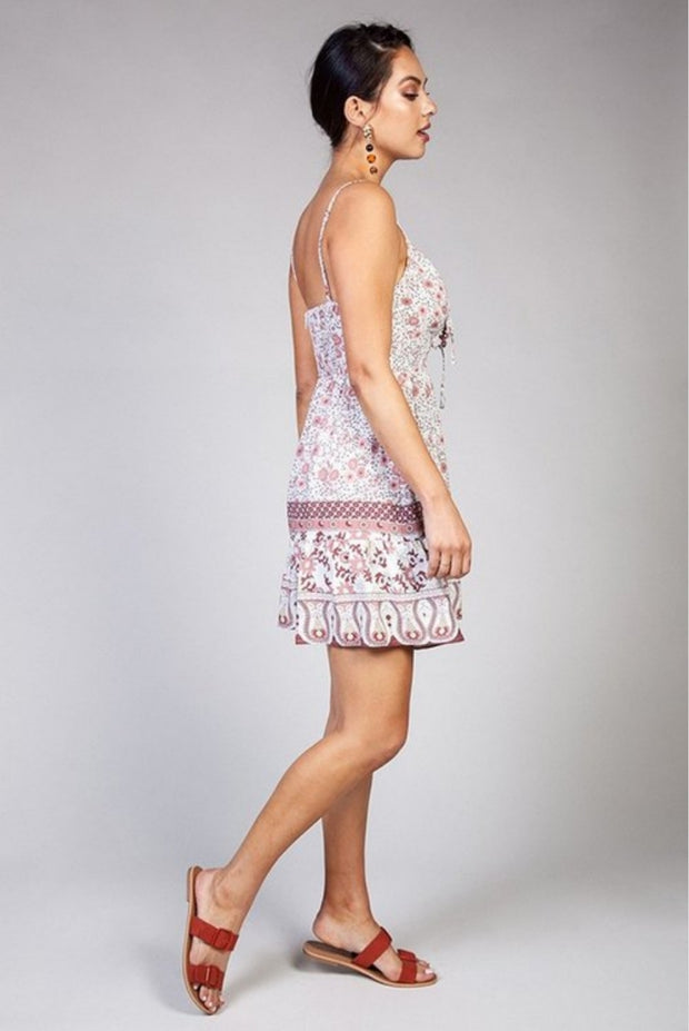 Boho-Chic Floral Print Mini Dress- Mauve