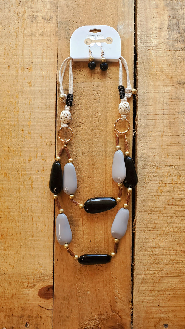 Gypsy Multi Layered Necklace- Black