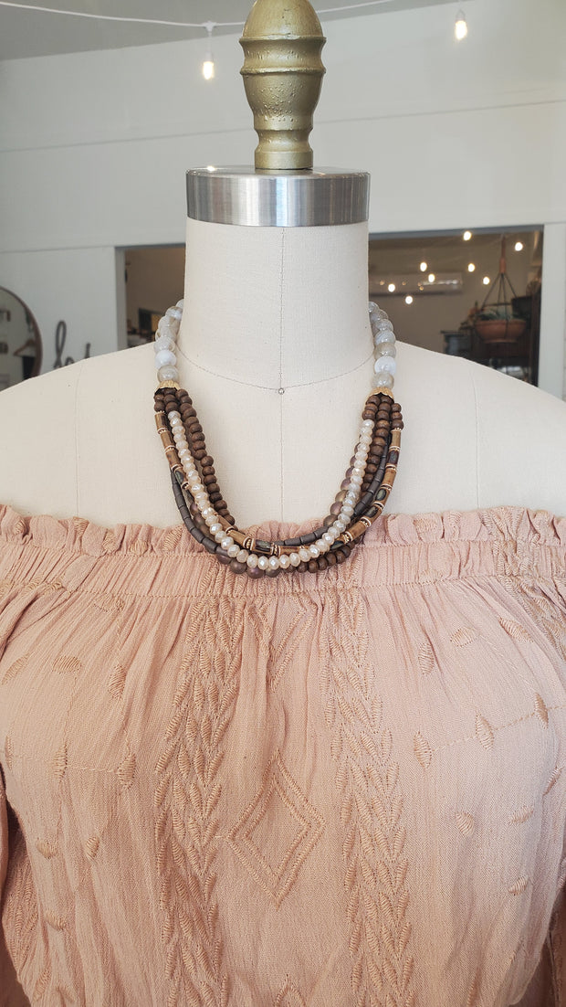 Chunky Beaded Necklace- Brown