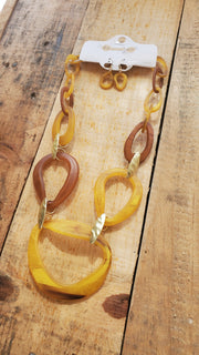 Chunky Resin Necklace- Mustard