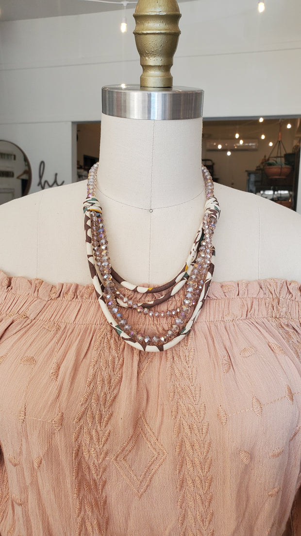 Chunky Fabric Necklace- Gray