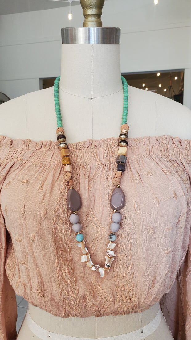 Shells and Bead Long Necklace- Mint