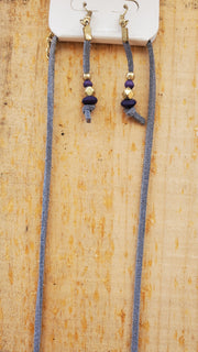 India Suede Long Necklace- Blue