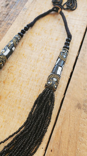 India Seed Beads Necklace- Black